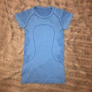 Lululemon light blue workout T-shirt